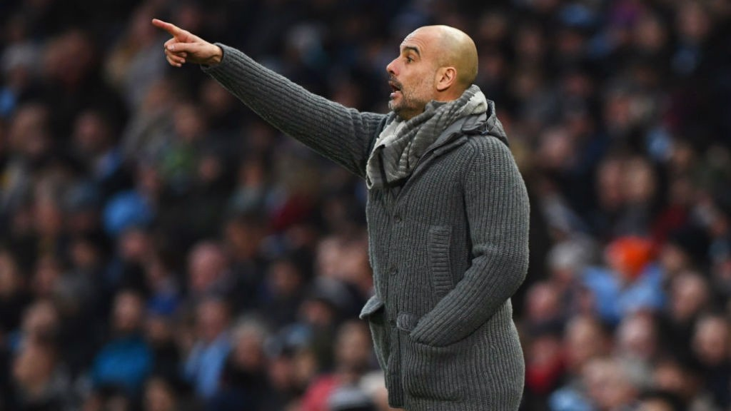 THE BOSS: Pep orchestrates his players from the touchline