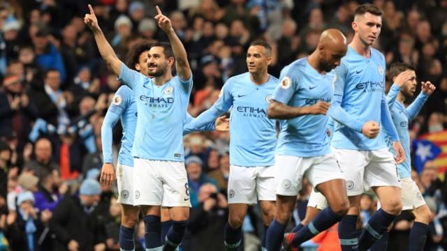 THREE AND EASY: Gundogan produced a fine finish for City's third