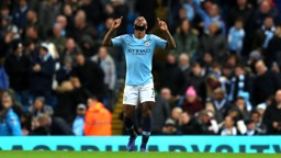 BACK IN FRONT: Sterling celebrates after his close-range effort