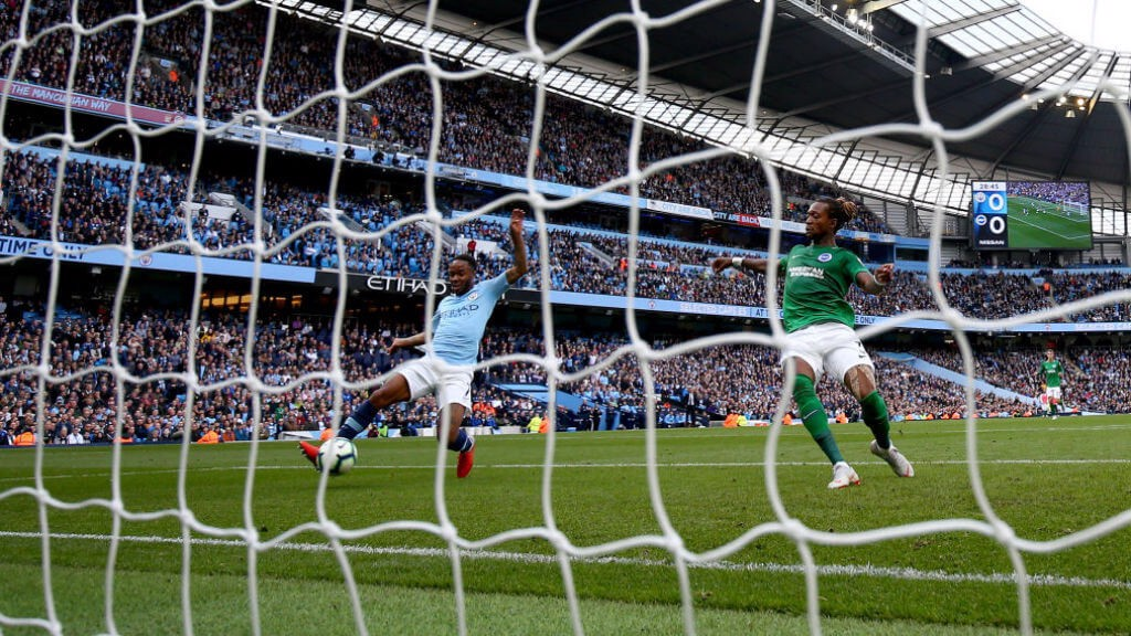 TAP IN: It's a simple finish for Raheem as he makes it 1-0 City