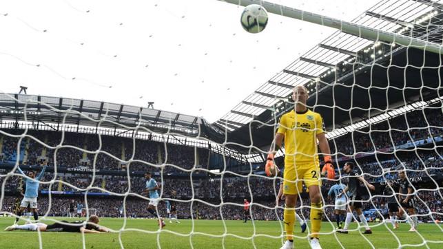 HART BREAK: Joe Hart can only look on in dejection after City's opening goal
