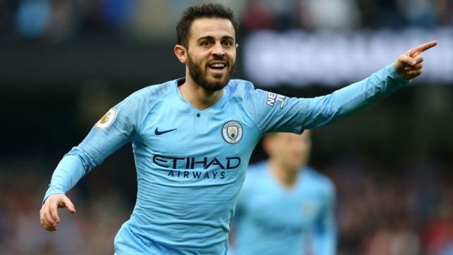 SOLID SILVA: Bernardo celebrates after firing home City's second goal