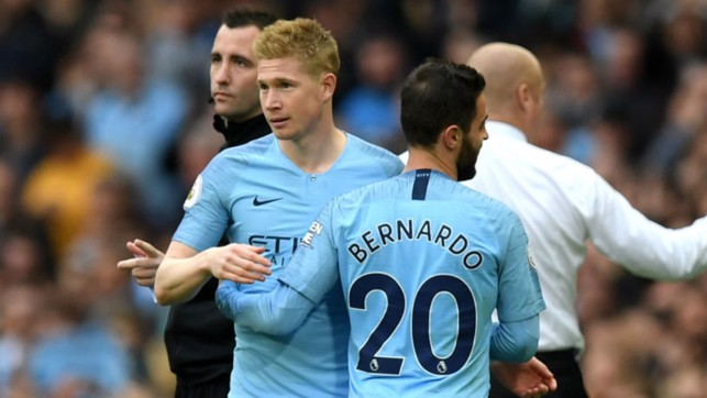BACK IN BUSINESS: Kevin De Bruyne makes a welcome return from injury as he replaces Bernardo Silva