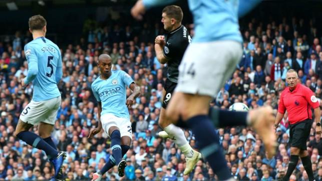TAKE THREE: Ferna lashes home a wonderful third goal for the Blues