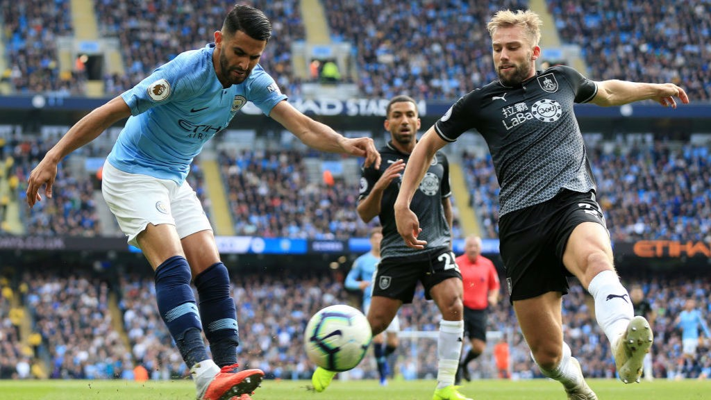 INGING IN: Riyad Mahrez whips over a cross from the right flank