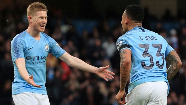 CUP DELIGHT: KDB and Gabriel Jesus celebrate as City take the lead.