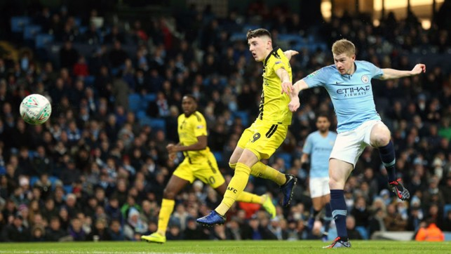ON THE MARK: Kevin De Bruyne heads home to give City an early lead