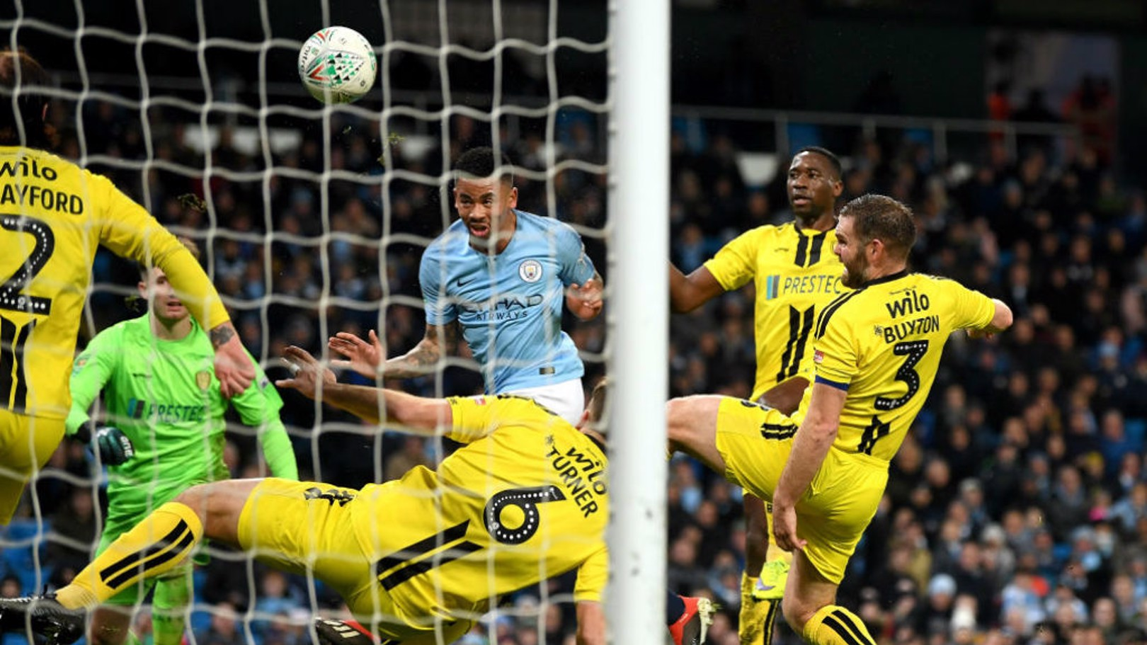 HEAD BOY: Gabriel Jesus heads home his first goal to double our lead