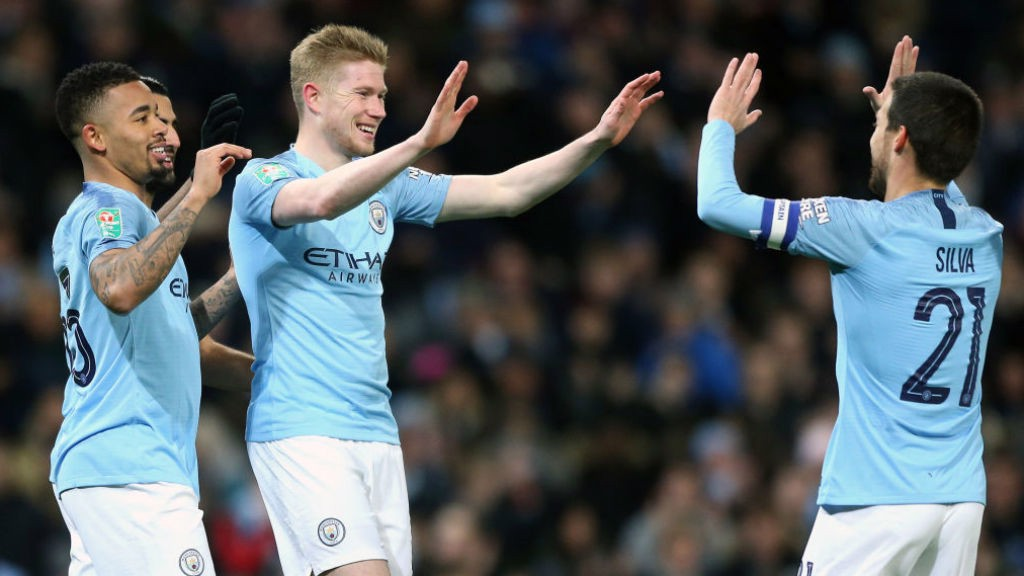 SMILING ASSASSIN: Kevin De Bruyne celebrates after heading the Blues in front
