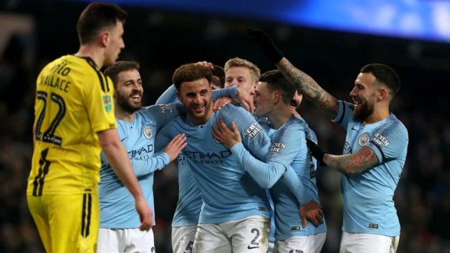 MOB HANDED: The Blues surround Kyle Walker after his strike made it 8-0
