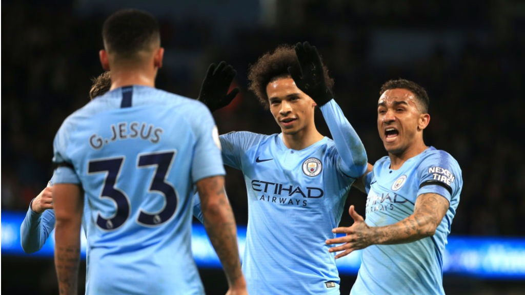 IN-SANE: Leroy Sane is all smiles after doubling City's lead with a cracking finish