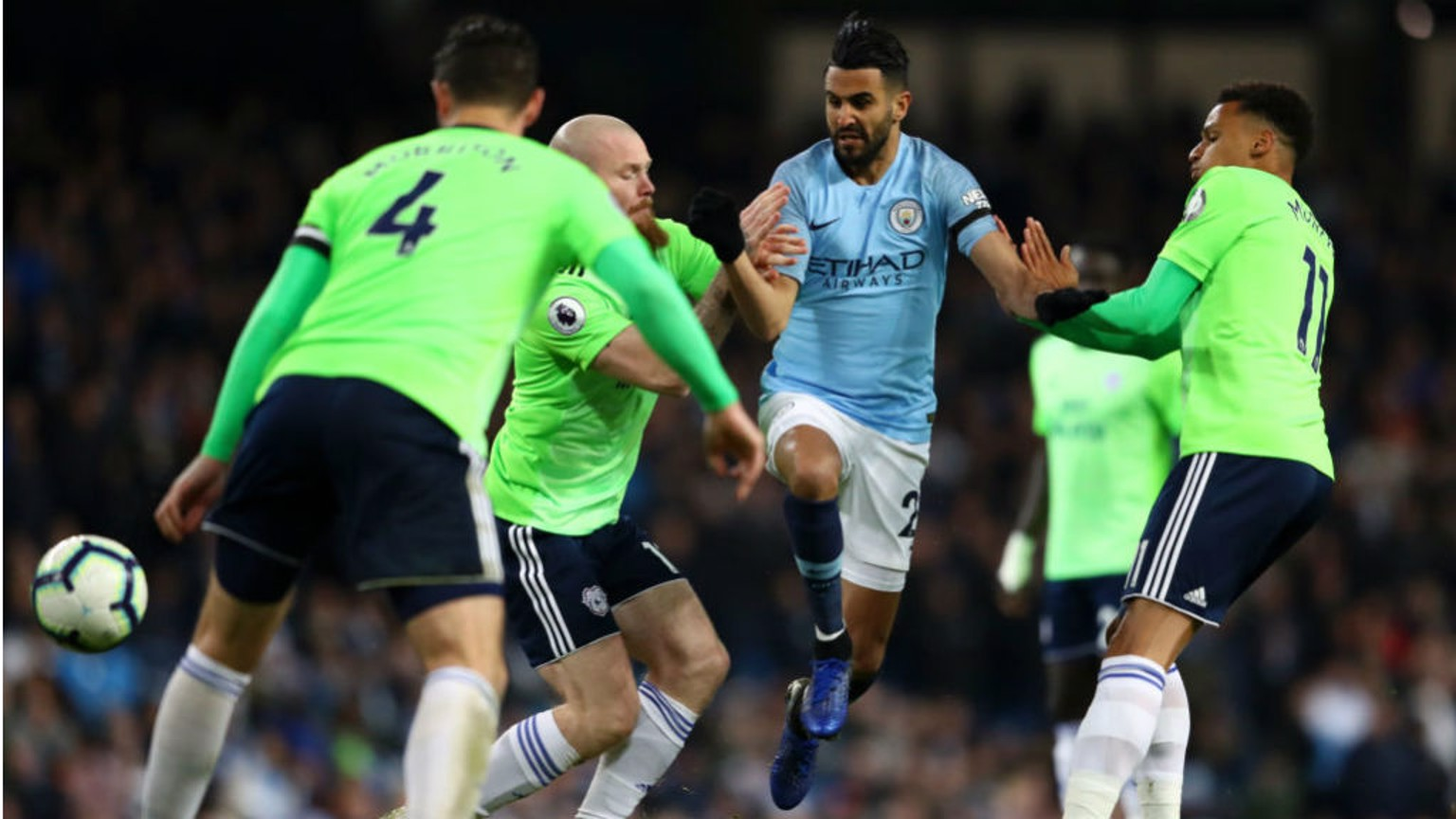NO ENTRY: Riyad Mahrez comes up against a Cardiff road block