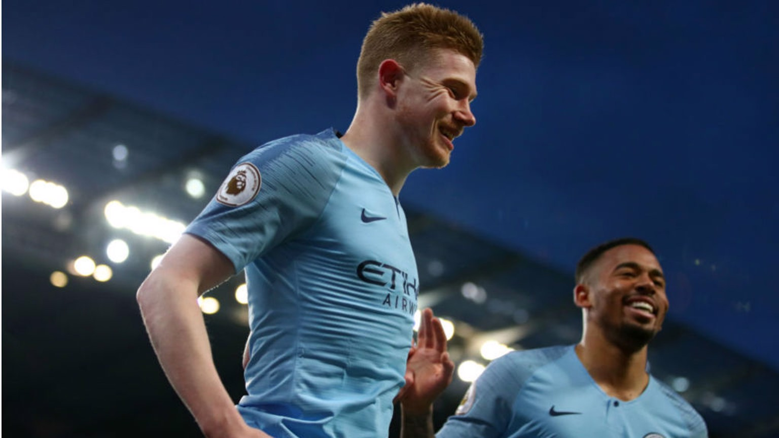 GOLDEN GLOW: KDB and Gabriel Jesus celebrate after the Belgian's fantastic opener