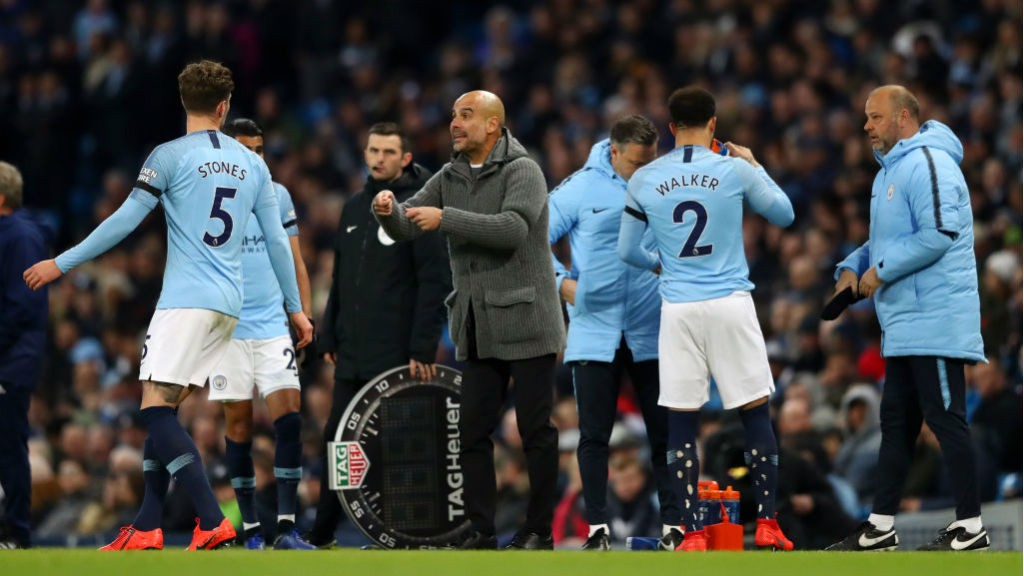 PEP TALK The boss hands out instructions after the early injury to Oleks Zinchenko which saw Kyle Walker come on in his place