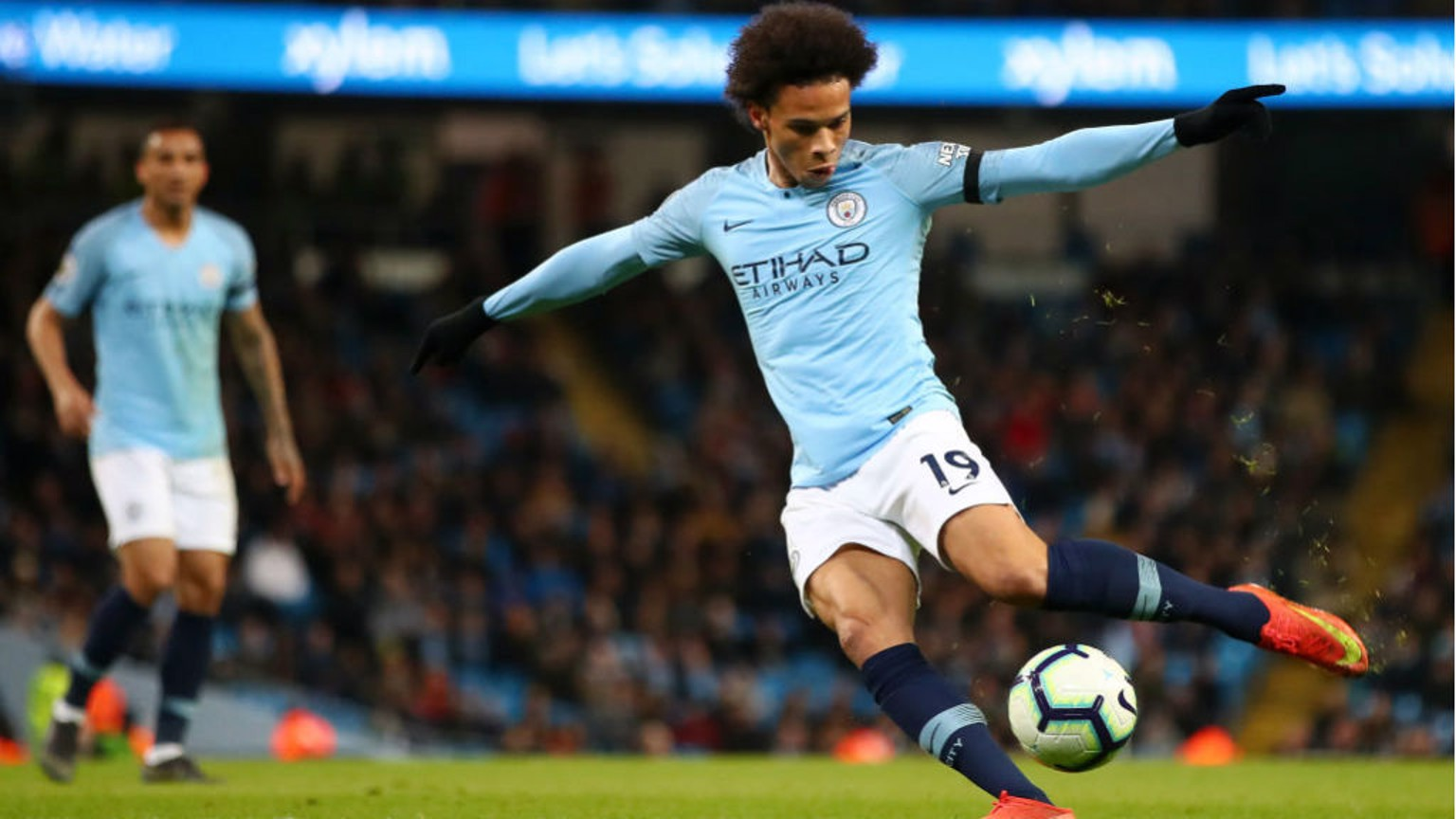 DOUBLE DELIGHT: Leroy Sane cracks home our second goal on the stroke of half-time