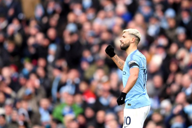 ANOTHER ONE: Aguero celebrates his second goal of the game.