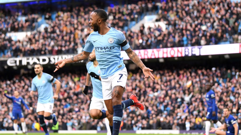 QUICK FIRE: Raheem sterling wheels away after firing City into an early lead v Chelsea