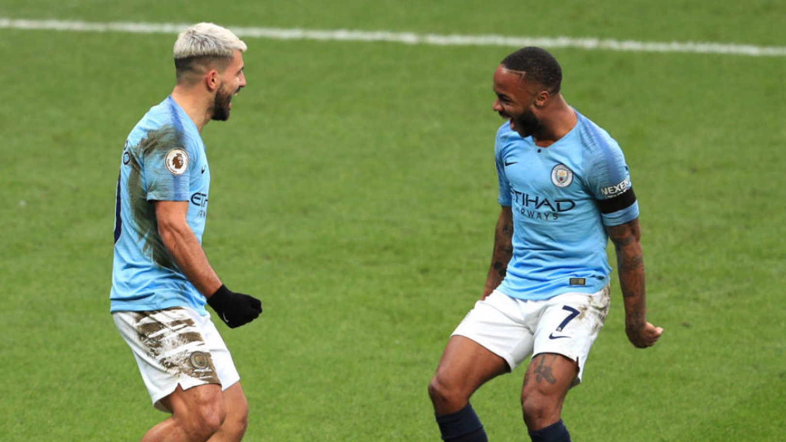 GOAL GLUT: Aguero and Sterling celebrate