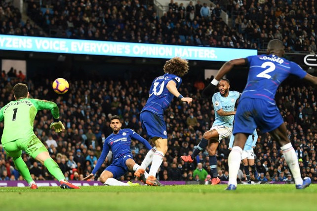HIT FOR SIX: Raheem Sterling fires in his second goal of the game.