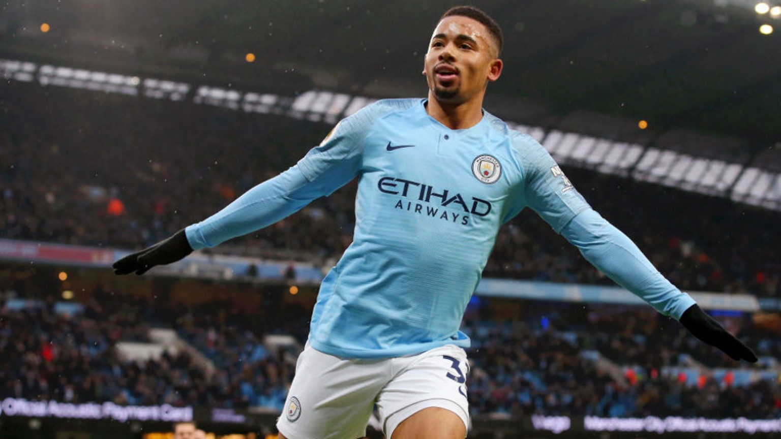 SAMBA SMILE: Gabriel Jesus wheels away in delight after scoring