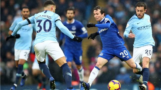 DOUBLE TROUBLE: Nico Otamendi and Bernardo Silva put the squeeze on Bernard