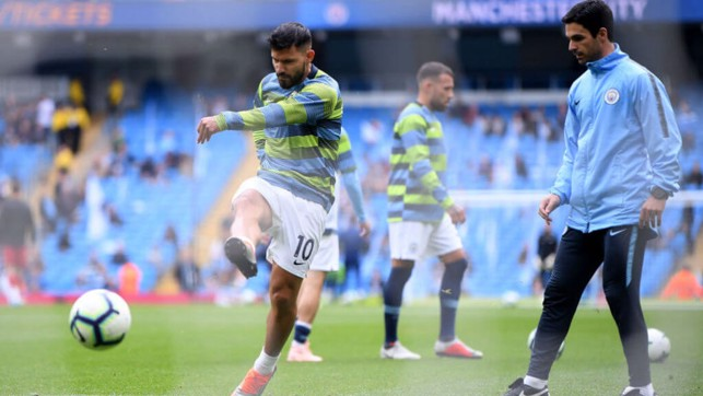 SHARP SHOOTER: Arteta puts Aguero through his paces prematch