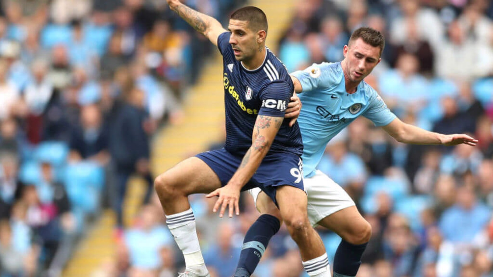 IN CONTROL: The excellent Laporte keeps close tabs on Mitrovic