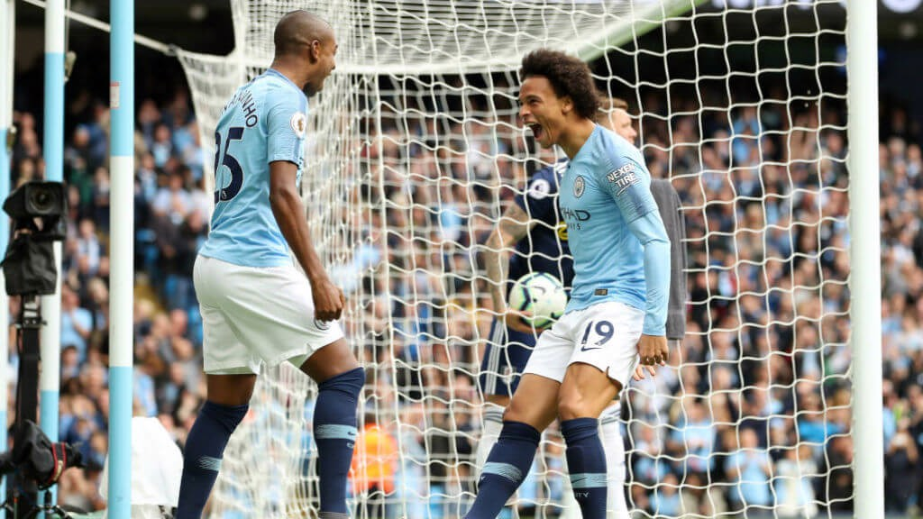EARLY GOAL: Sane put City ahead after two minutes in September's reverse fixture