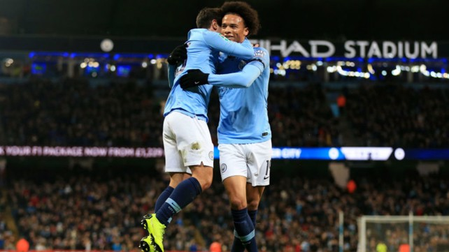 WINGERS: Brahim Diaz celebrates with Leroy Sane.