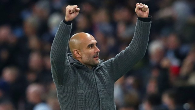 GUARDIOLA: The boss celebrates City's opening goal.