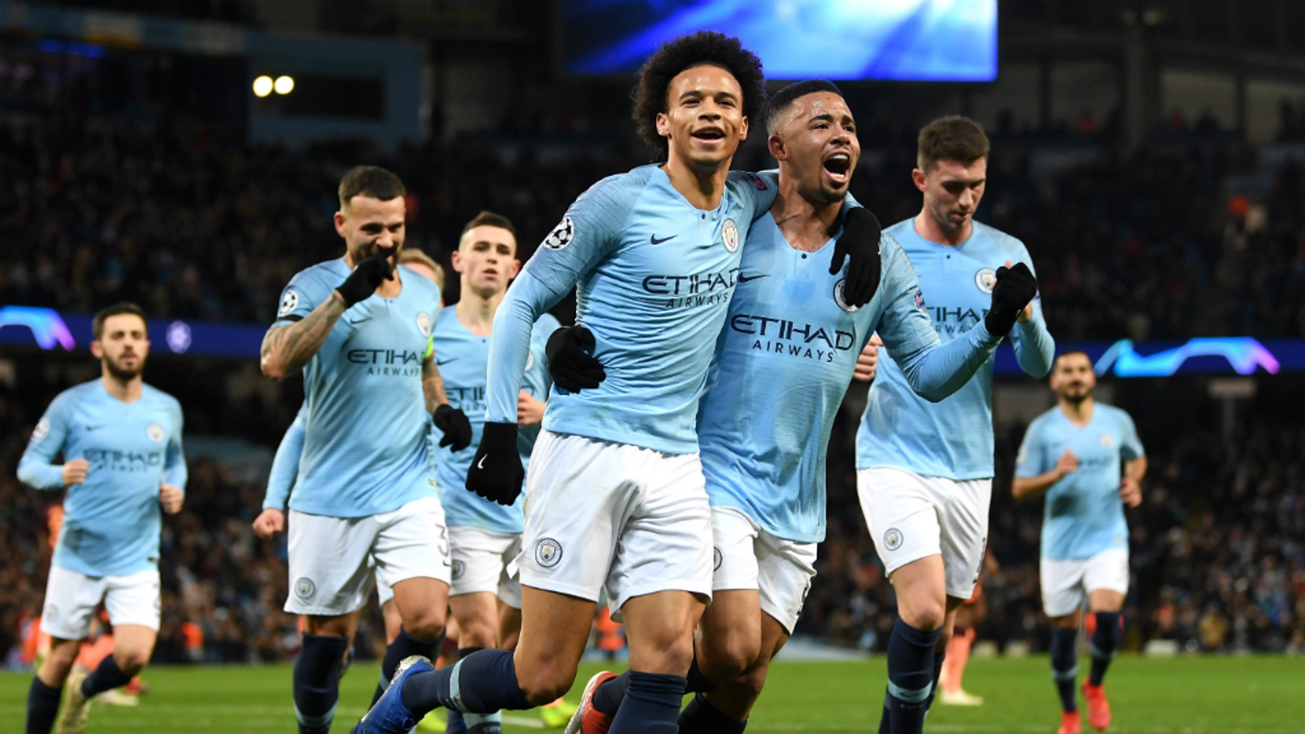 BLUE JOY: The team congratulate the winger on his stunning strike