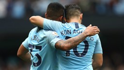 STRIKE PARTNERS: Gabriel Jesus and Sergio Aguero celebrate