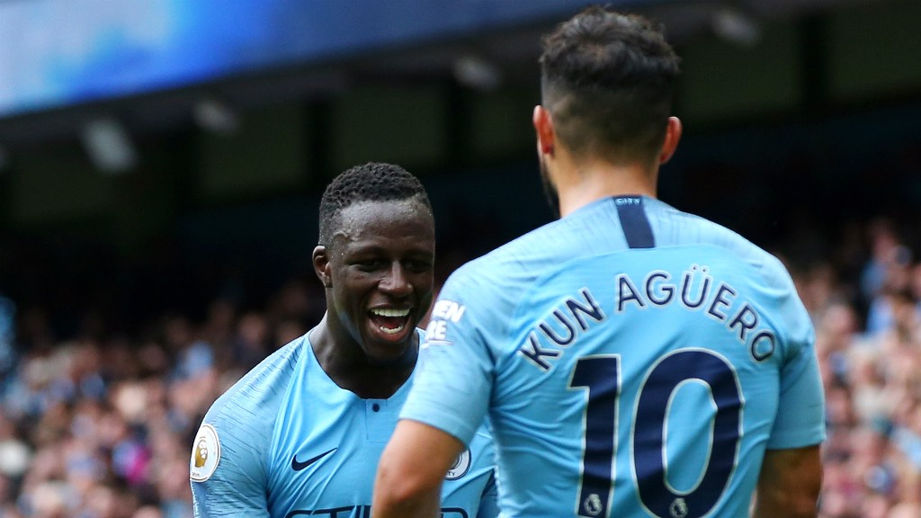 d536e4387c4 MERCI, MENDY!: Sergio Aguero thanks Benjamin Mendy for his assist, having  completed