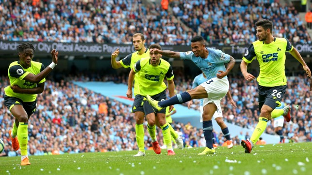 IT'S TWO: Gabriel Jesus doubles the lead with a well-taken drive into the near post