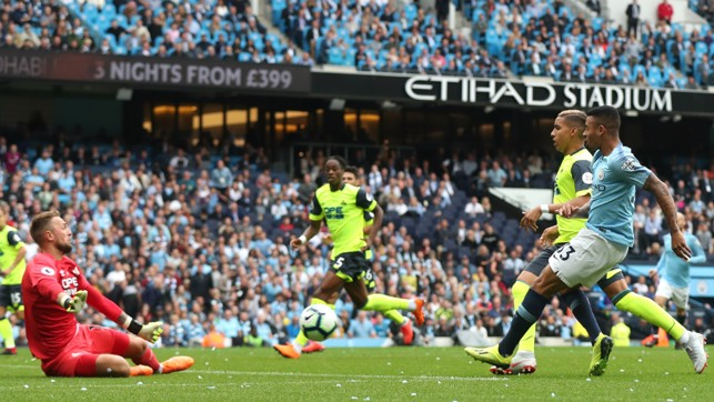 DENIED: Gabriel Jesus' early effort is well-saved by Ben Hamer