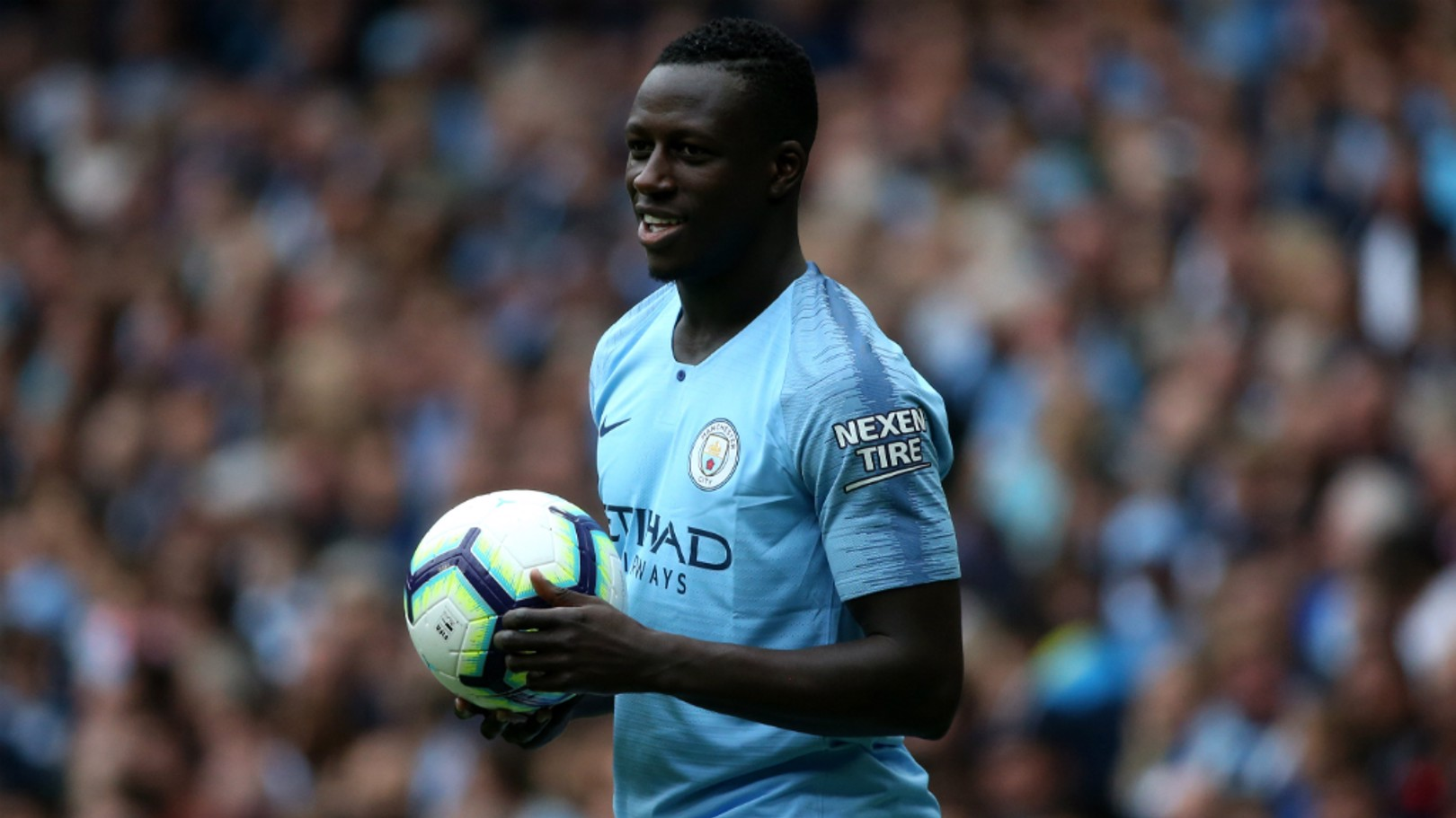 JOYEUX: Benjamin Mendy was glad to be back in action at the Etihad Stadium