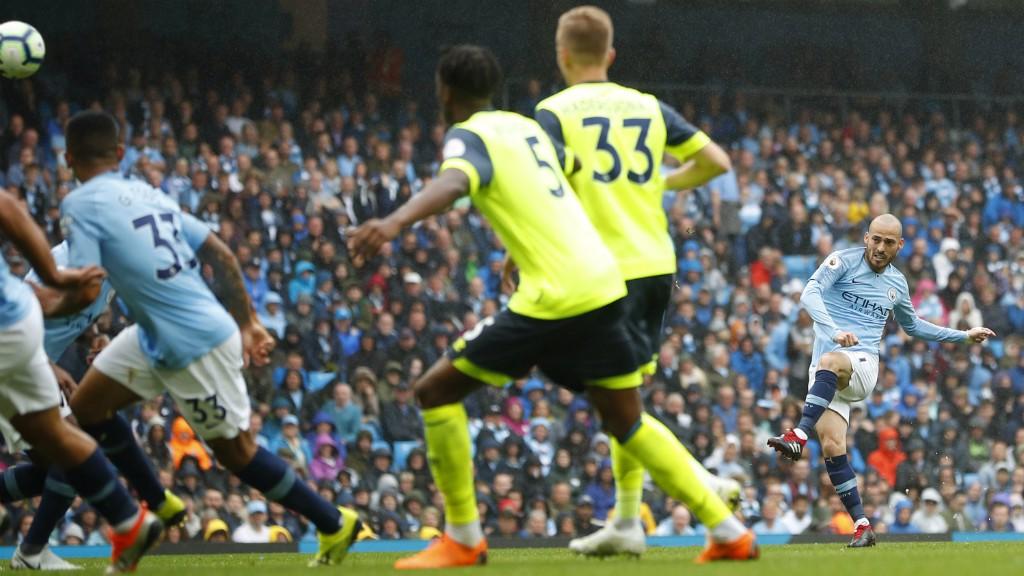 EL MAGO: David Silva marks his 250th Premier League appearance with a wonderful goal - a free-kick, bent into the top corner