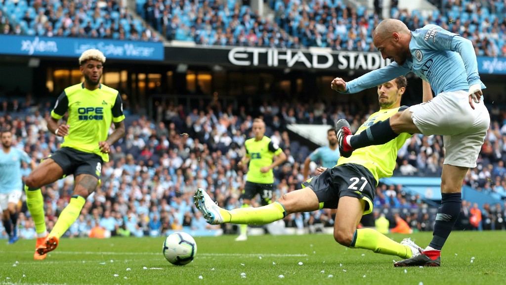 GENIUS AT WORK: David Silva attempts to weave some magic in the box