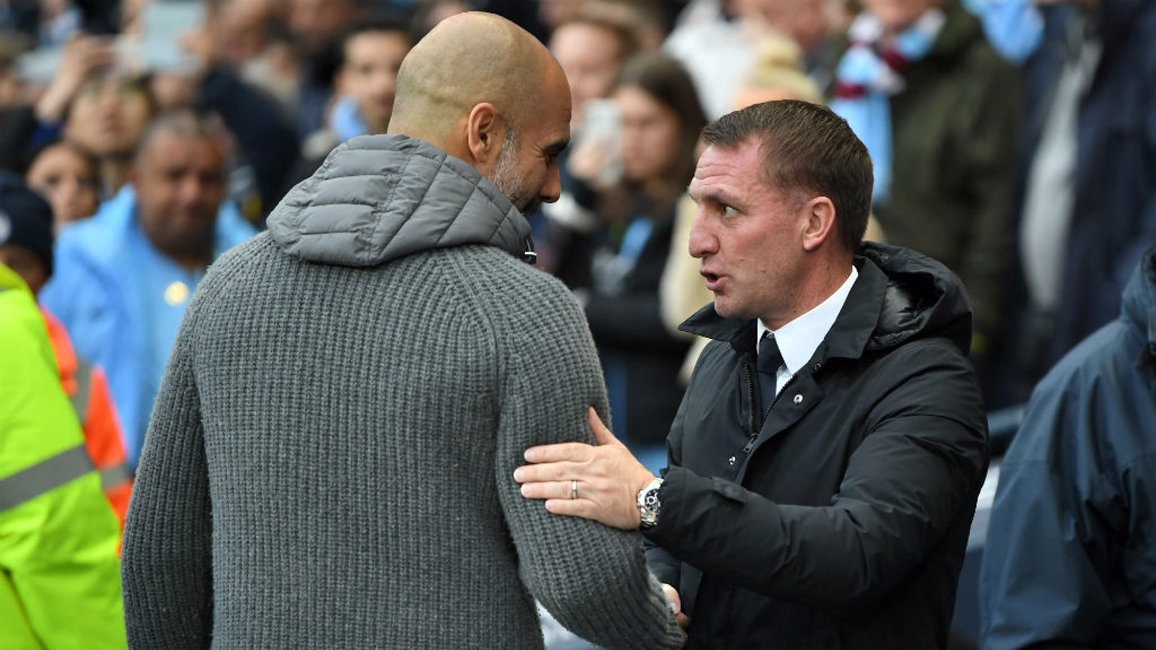 THE GAFFERS: Pep Guardiola and Brendan Rodgers.