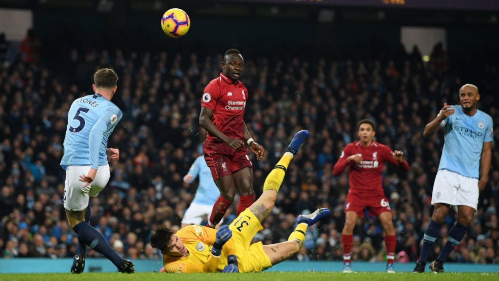 RED ALERT: John Stones and Ederson combine to try and keep out Sadio Mane