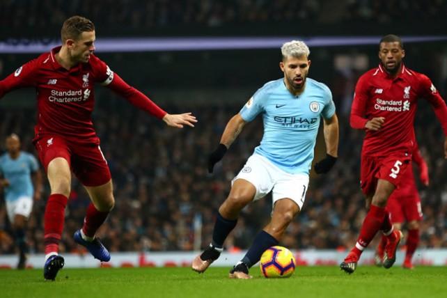 SILVER STREAK: Sergio Aguero runs at the Liverpool defence