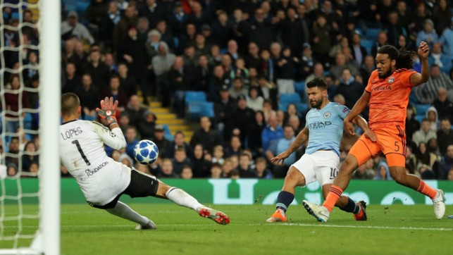 SO CLOSE: Sergio Aguero almost finds the target