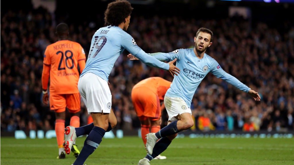 GAME ON? Bernardo Silva celebrates his goal with Leroy Sane