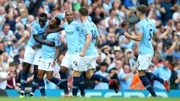 WE ARE CITY: Celebrating Sterling's goal together.
