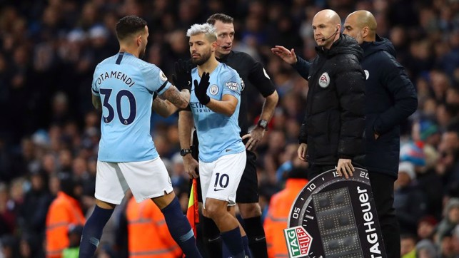 CHANGE OF PLAN: Aguero comes on to bolster the City attack