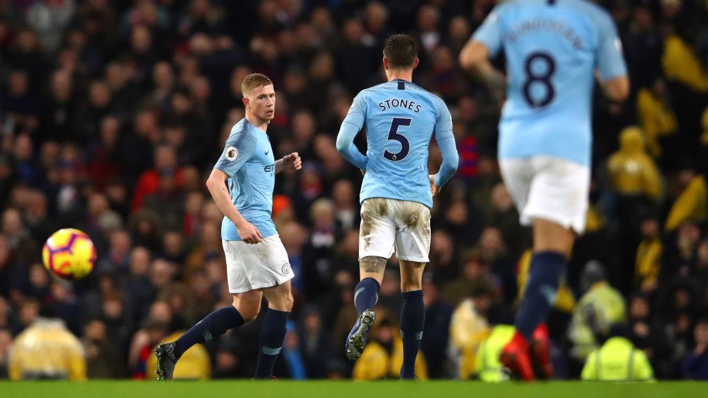 MUTED CELEBRATIONS: Kevin De Bruyne halves the deficit