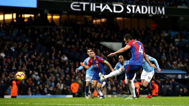 PALACE GOAL: Milivojević extends the visitor's lead from the spot.