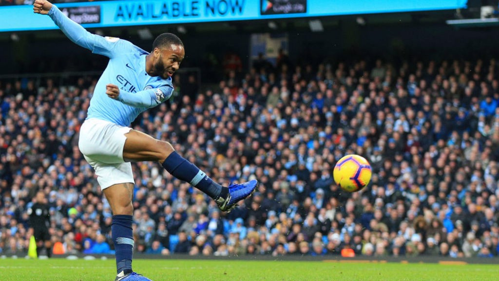 STERLING EFFORT: Raheem tries his luck from distance