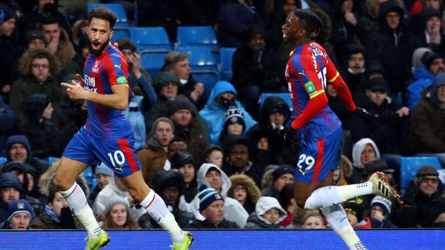 SPANNER IN THE WORKS: Townsend's volley puts Palace ahead before the break.