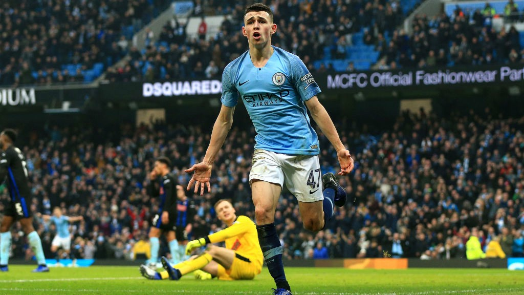 CENTRE OF ATTENTION: Phil Foden savours the moment after his first goal at the Etihad